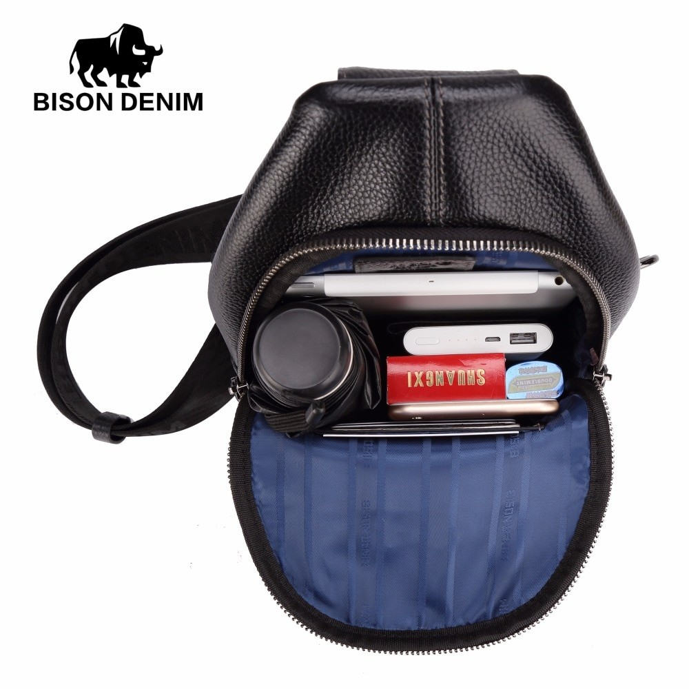 Bison Denim Men Genuine Leather Messenger Bag