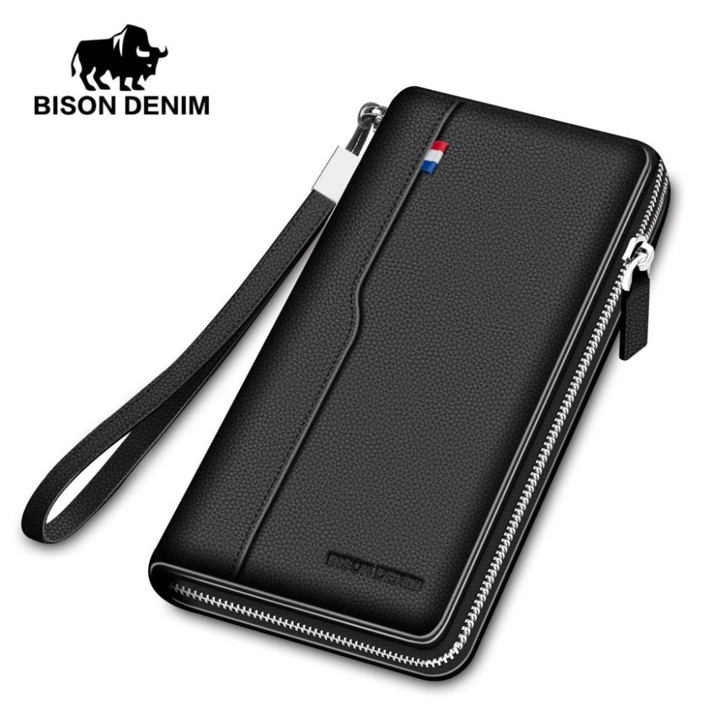 Bison Denim Men Genuine Leather Large Wallet