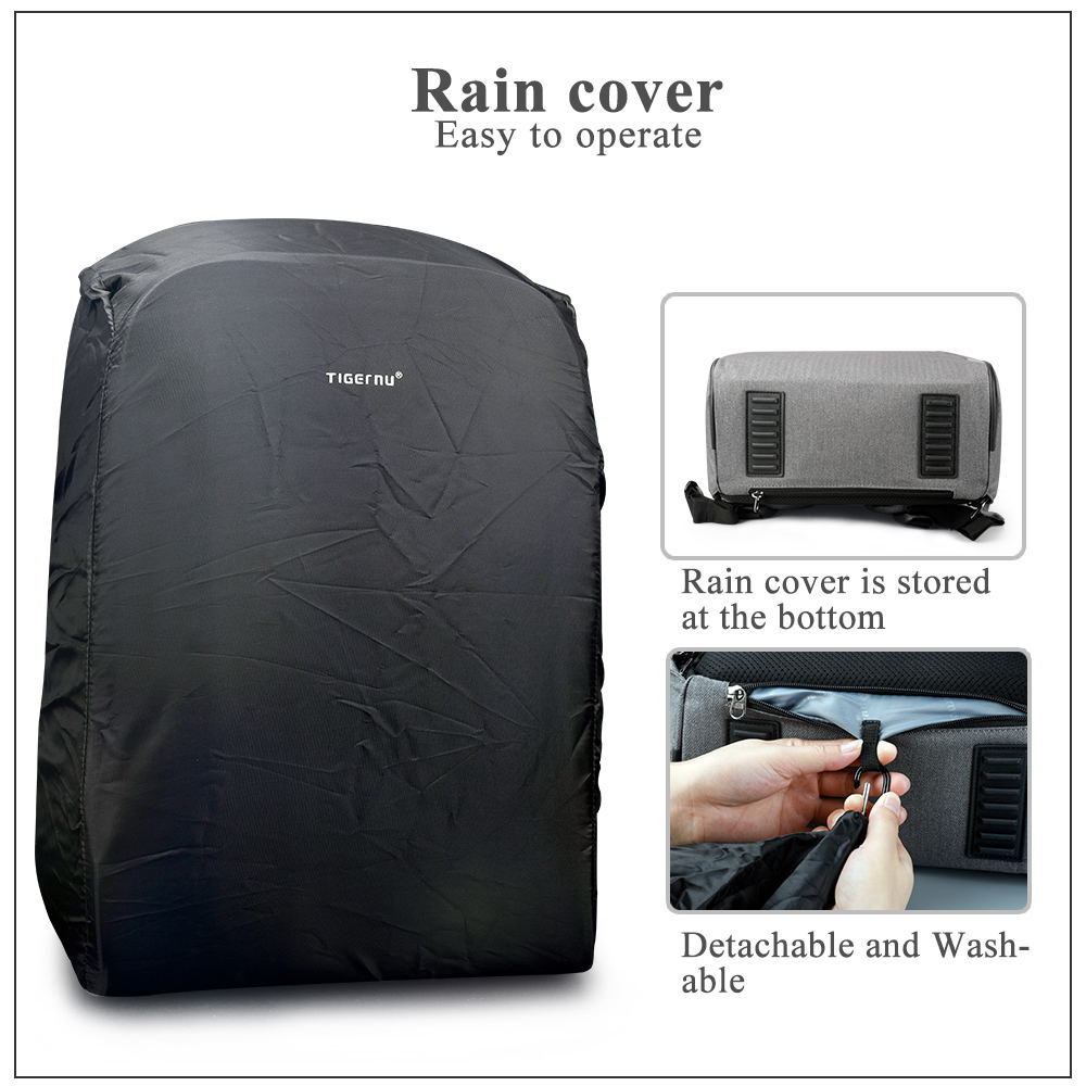 Tigernu Unisex Anti-theft Laptop Backpack with Rain Cover