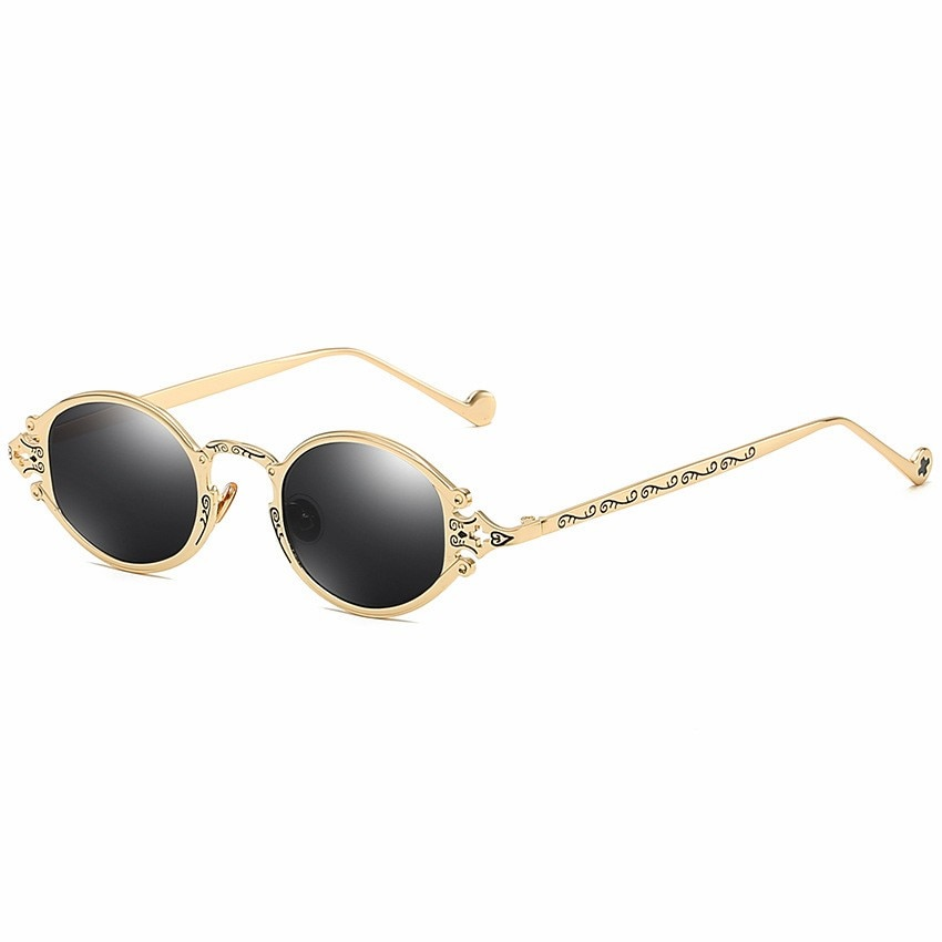 Men Vintage Steampunk Oval Sunglasses
