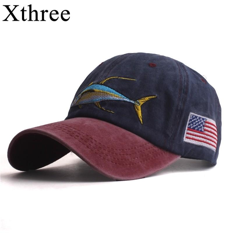 Xthree Unisex Fish Embroidery Baseball Cap