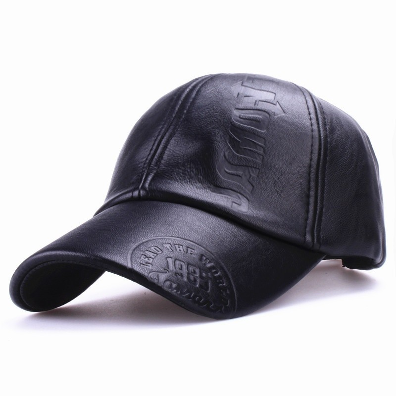 Xthree Men Leather Baseball Cap