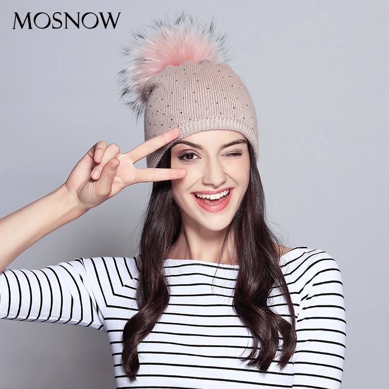 Mosnow Women Rhinestone Winter Beanie