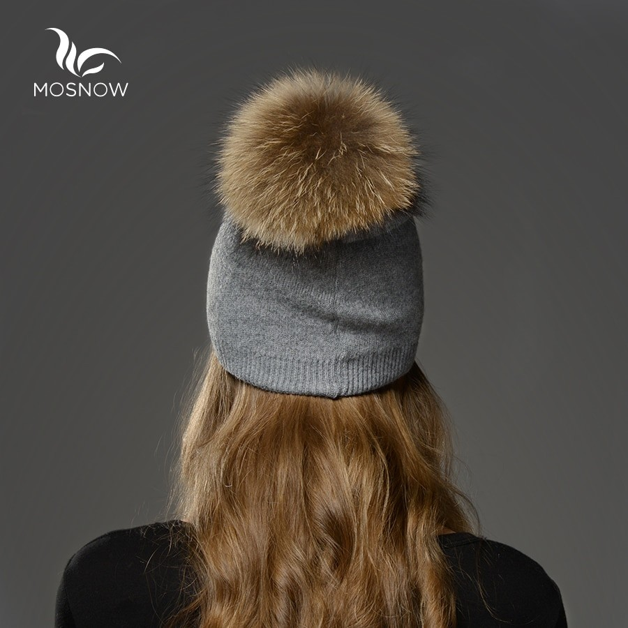Mosnow Women Raccoon Wool Fox Fur Pom Poms