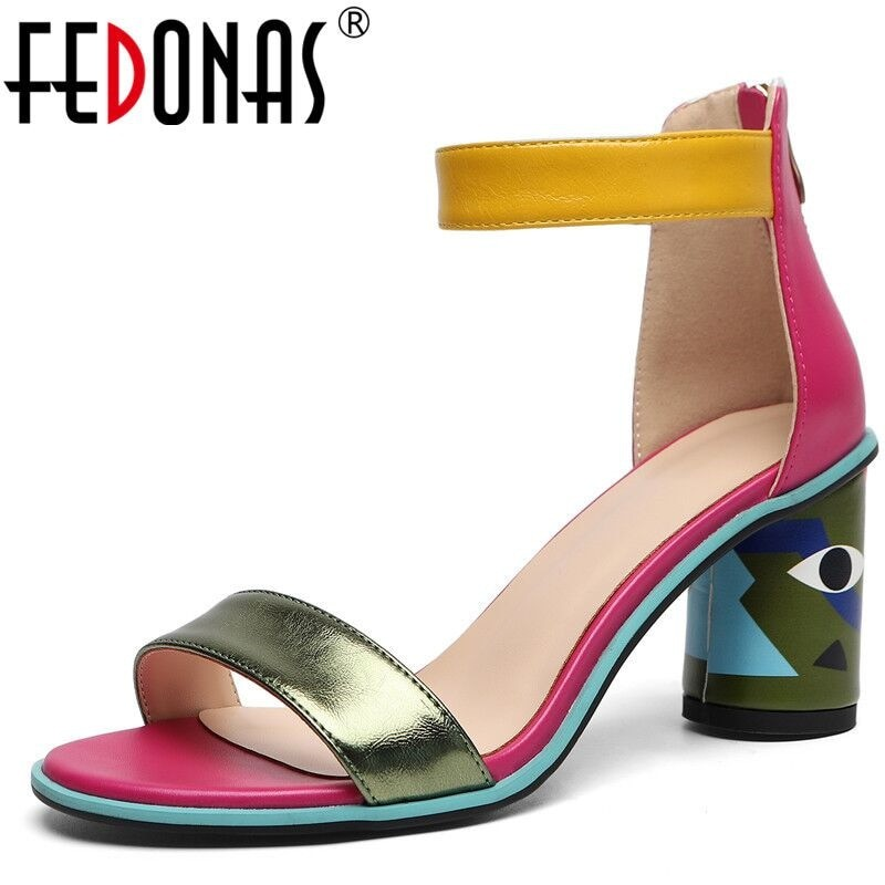 Fedonas Women Prints High Heels