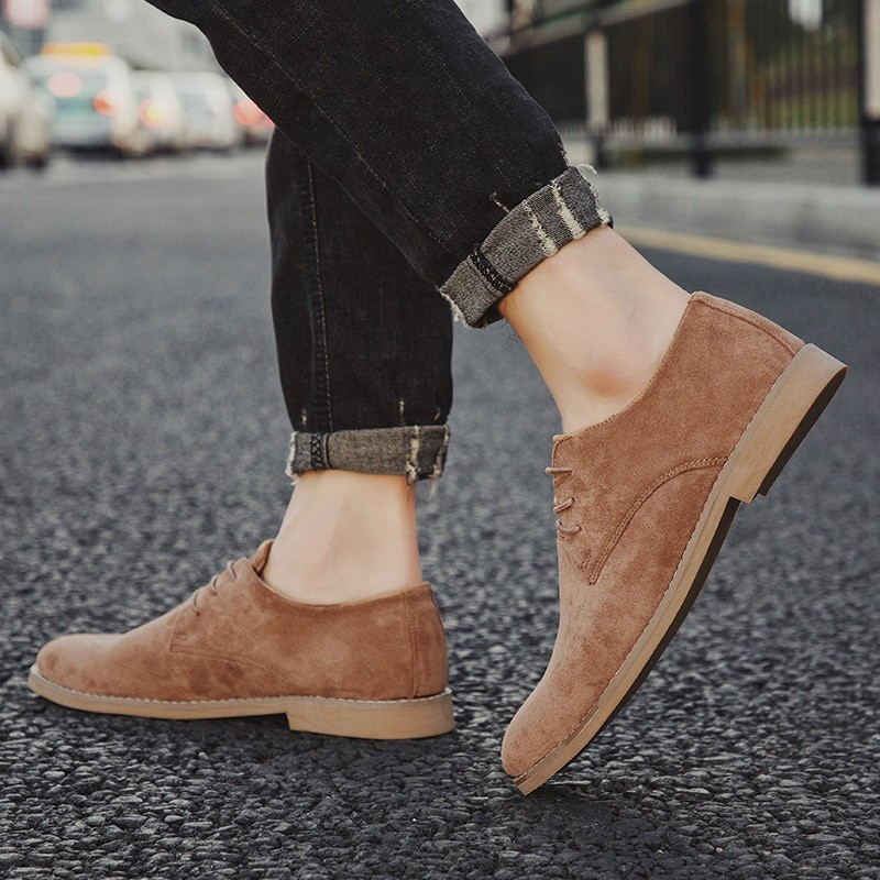 Men English Trend Suede Shoes
