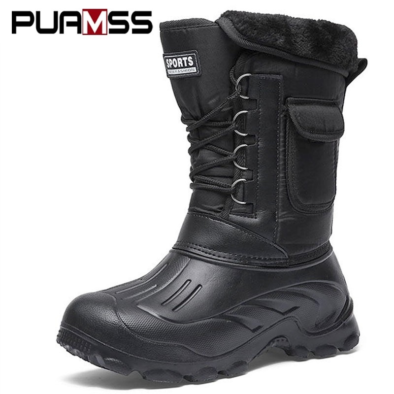 Puamss Men Warm Winter Waterproof Boots
