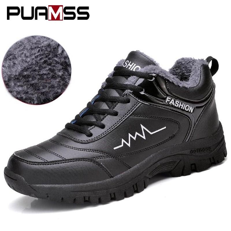 Puamss Men Fashion Winter Boots