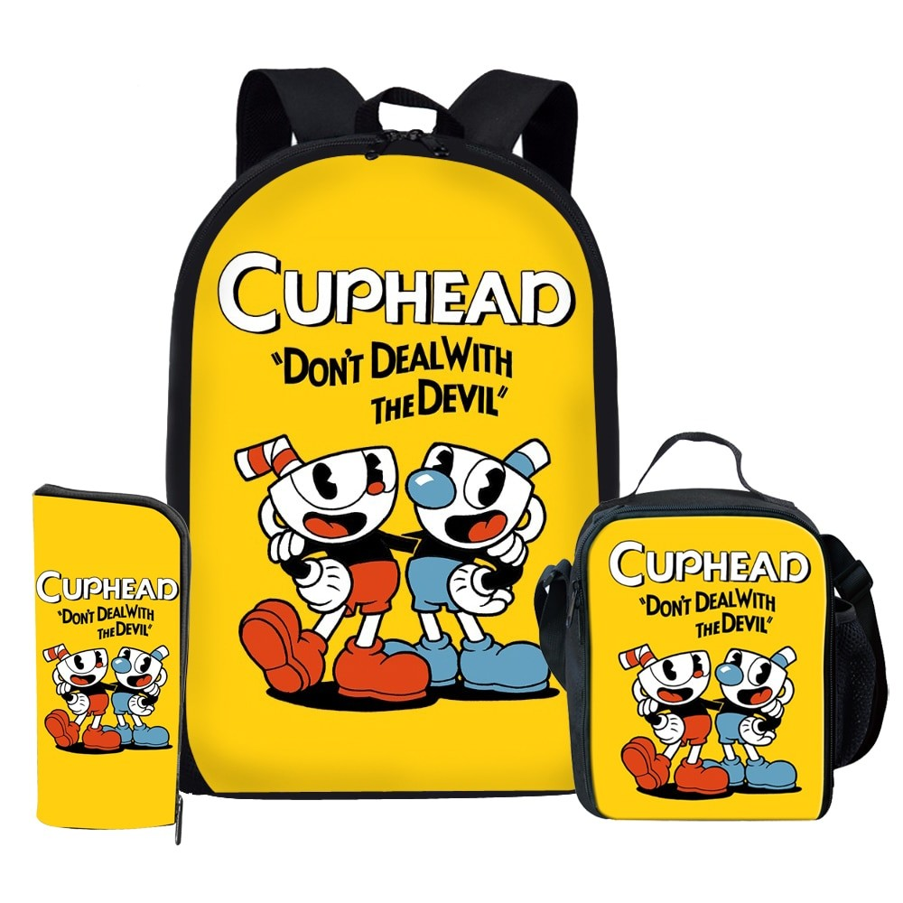 Cuphead Kids Casual Shoulder School Bag