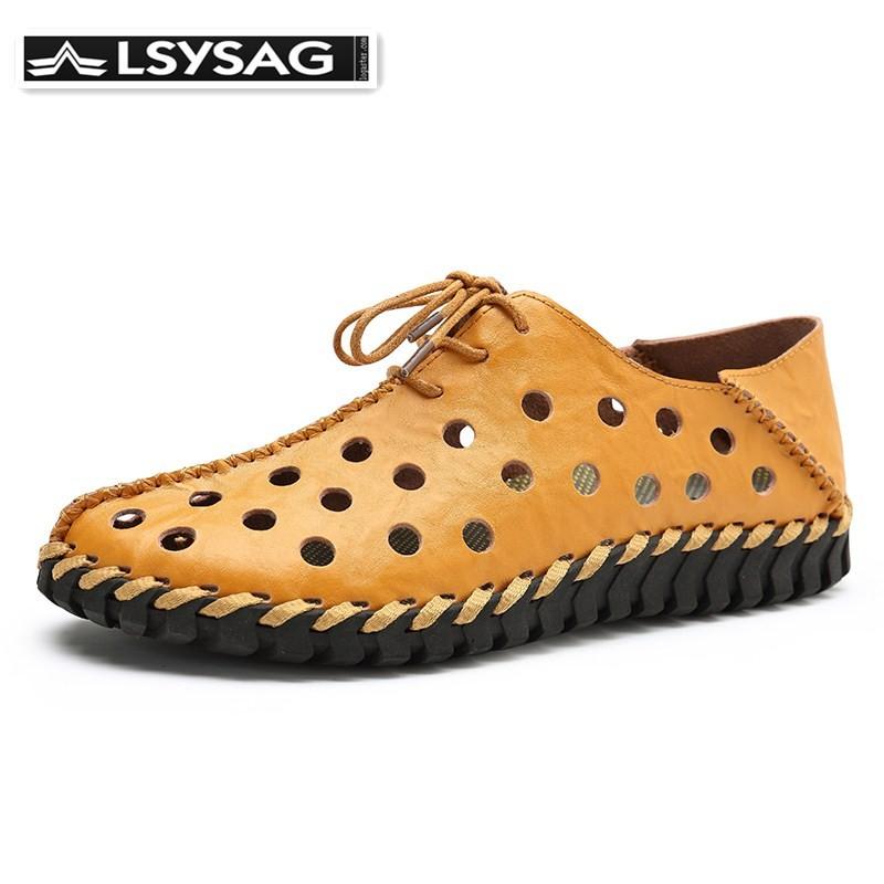 LSYSAG Men Leather Summer Shoes