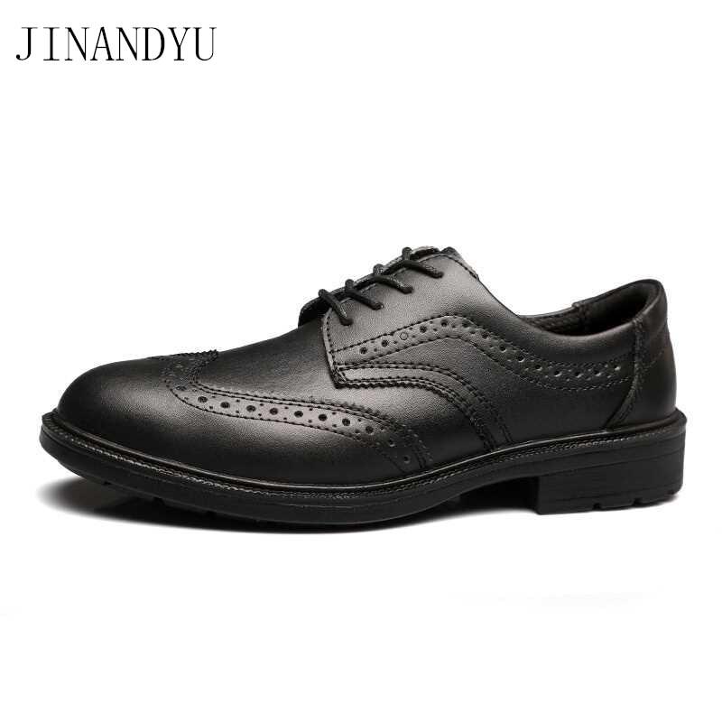 Jinandyu Men Leather Oxfords Brogue Dress Shoes