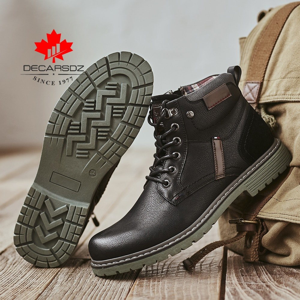 Decarsdz Men Leather Casual Boots