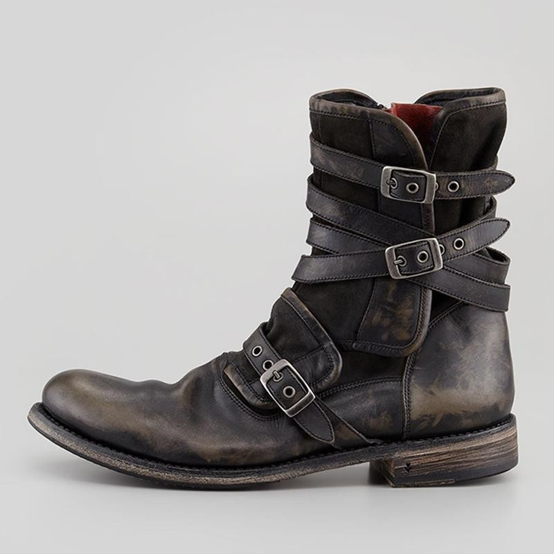 YELUOHK Men Vintage Leather Boots