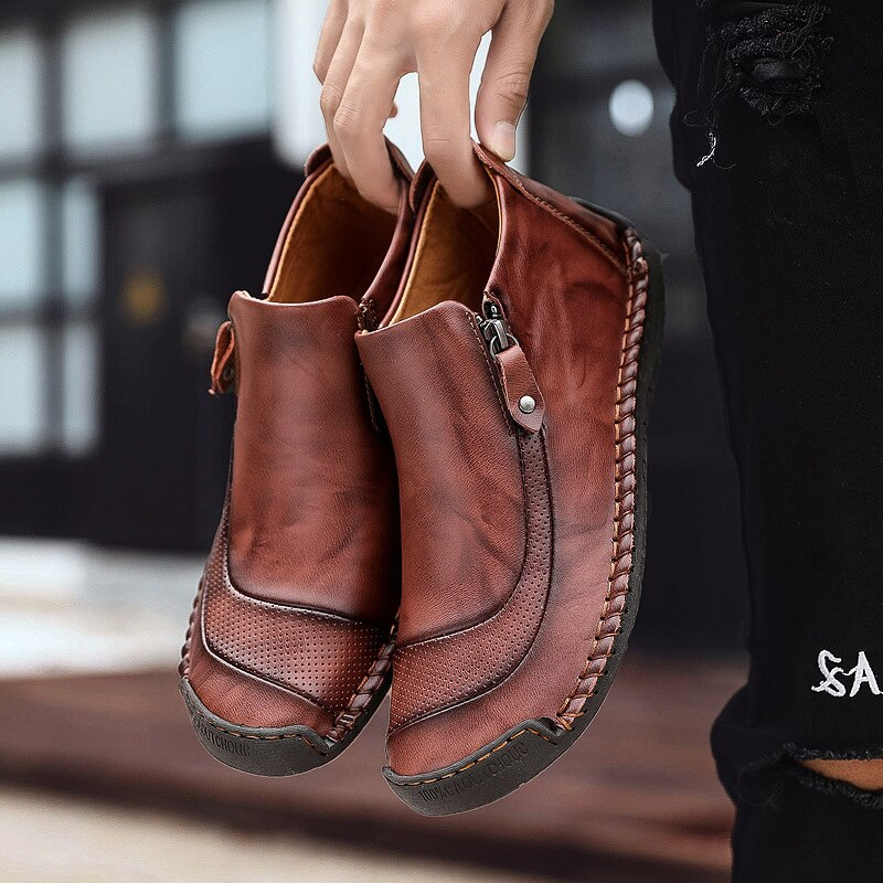 FHLYIY Men Leather Ankle Boots