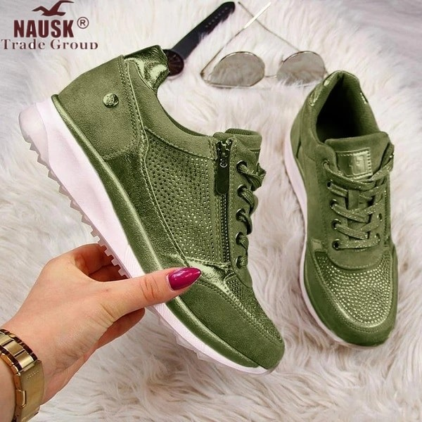 Women Gold Sneakers Shoes