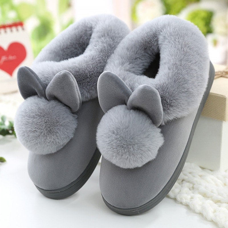 Women Fur Plush Warm Indoor Slippers