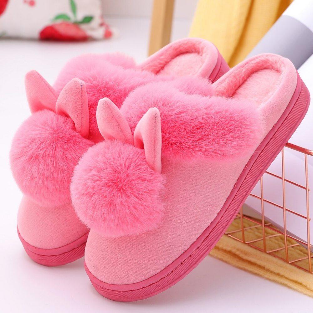 Women Furry Rabbit Ears Non-slip Winter Slippers