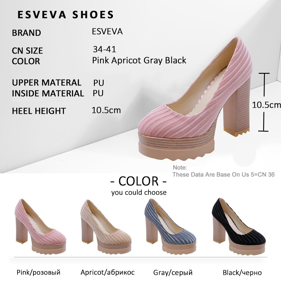ESVEVA Women Square High Heel Pumps