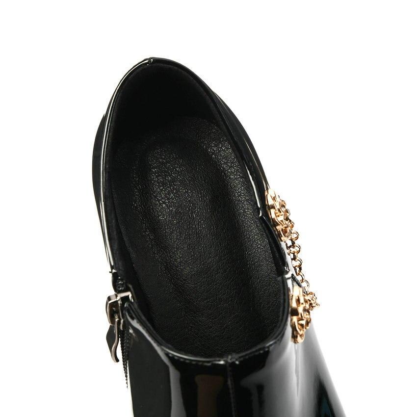 ESVEVA Women Leather Zipper Heel Pumps