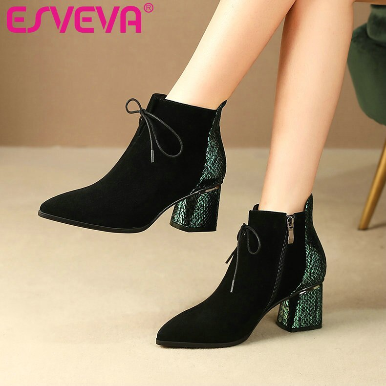 ESVEVA Women Leather High Heel Zipper Shoes