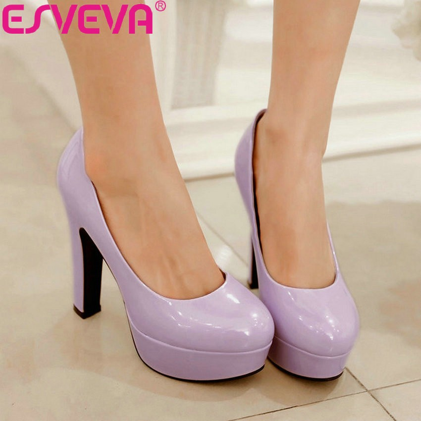 ESVEVA Women Square High Heels Pumps