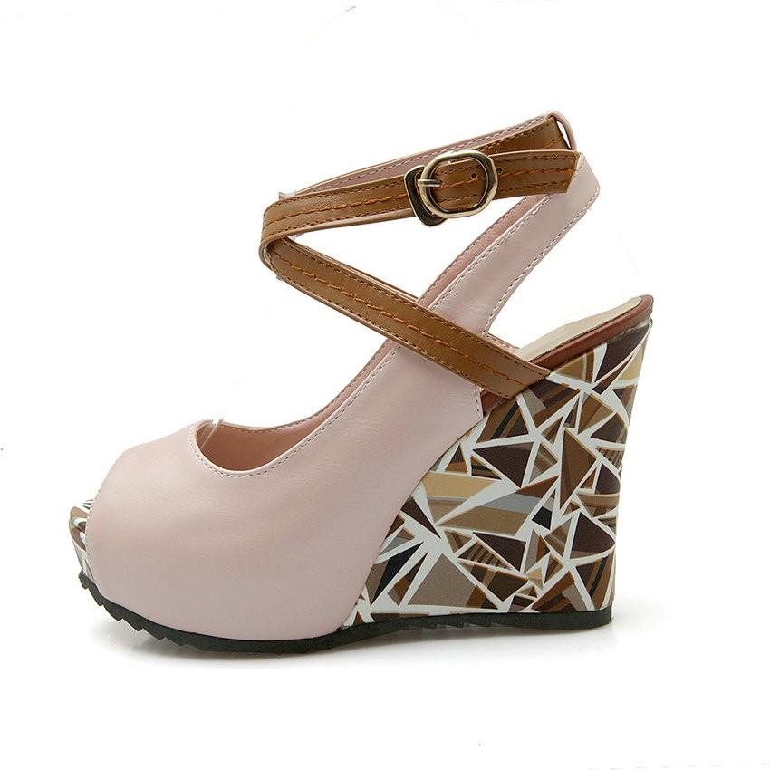 ESVEVA Women High Leather Heels Wedges