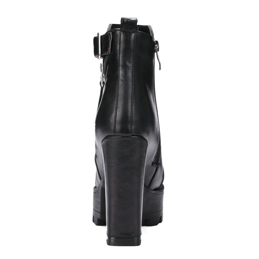 ESVEVA Women Short Plush Square Heels Boots