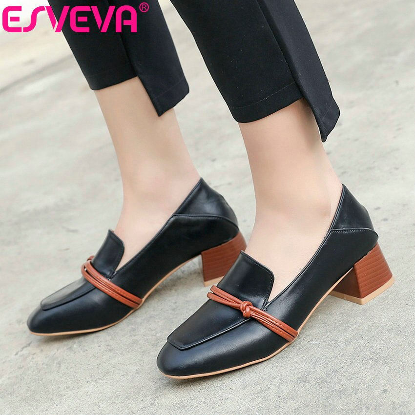 ESVEVA Women Sweet Style Square Toe Pumps