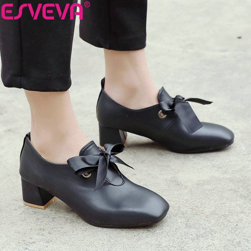 ESVEVA Women Shallow Sweet Square Pumps