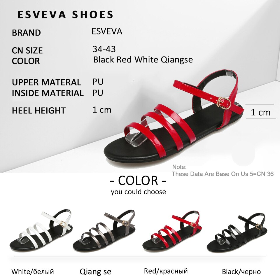 ESVEVA Women Ankle Strap Concise Sandals