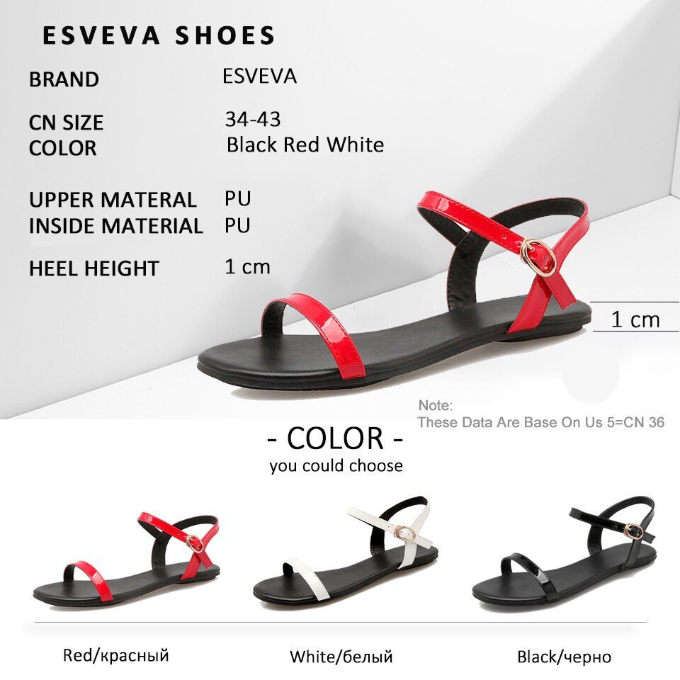 ESVEVA Women Buckle Strap Sandals