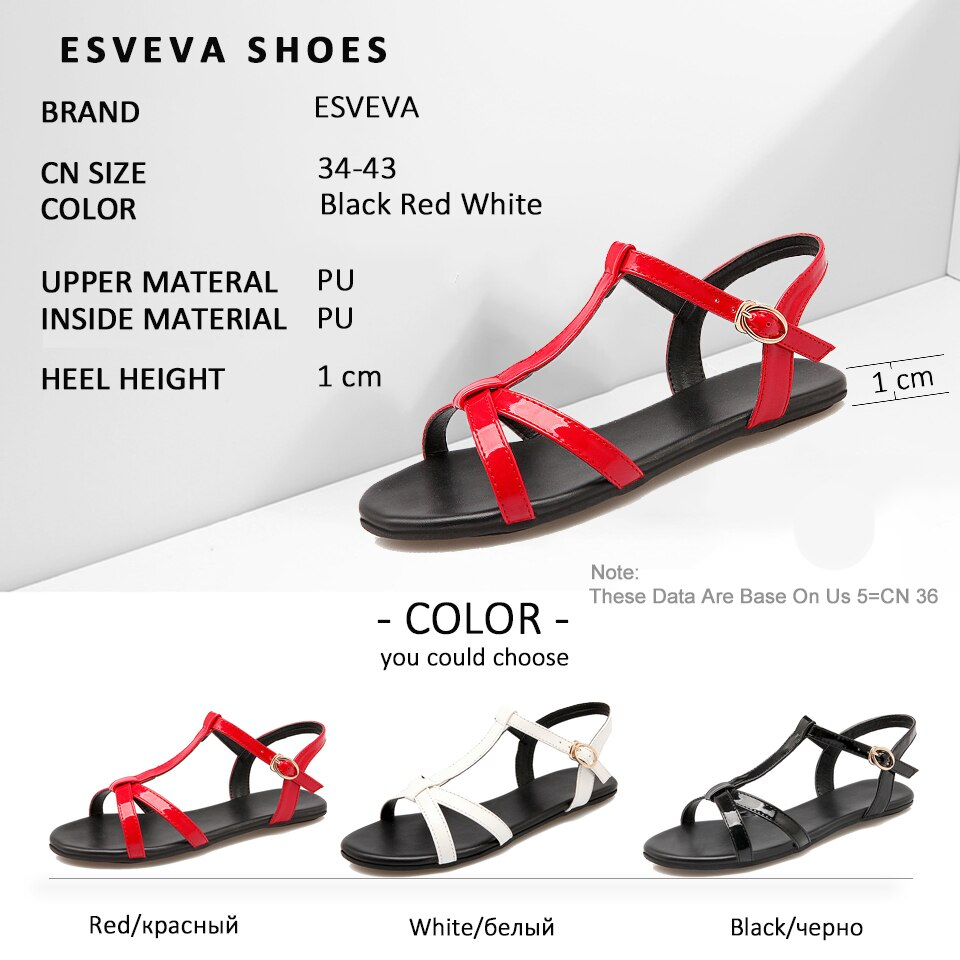 ESVEVA Women Buckle Strap Summer Sandals