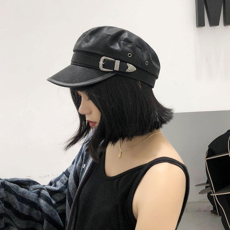 Women leather belt buckle flat hat