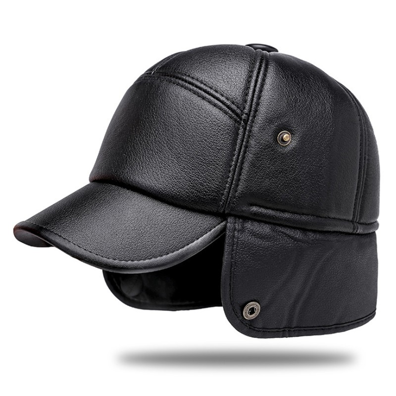 Aetrends Men Leather(with Earflaps) Cap