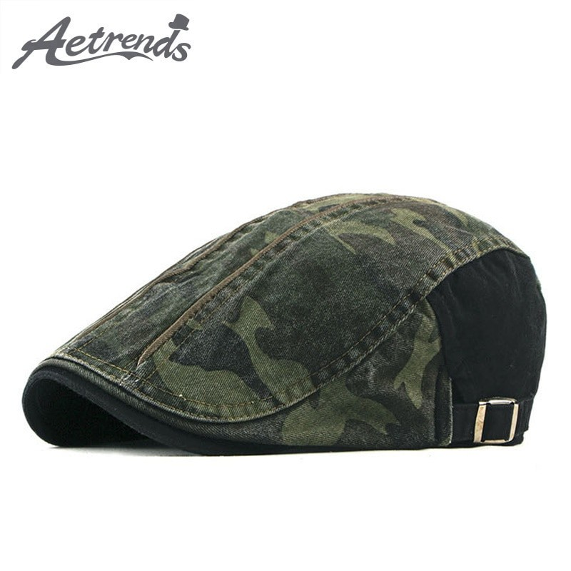 Aetrends Men Cotton Camouflage Flat Cap