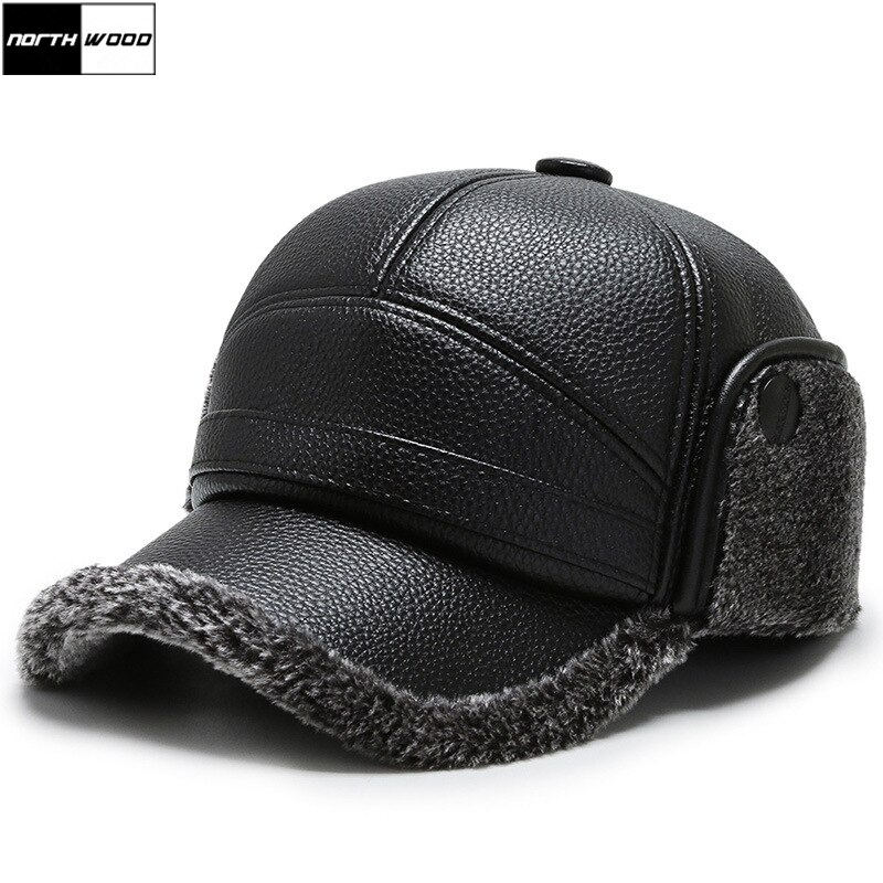 Northwood Men Black Leather Winter Cap