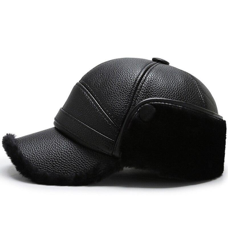 Northwood Men Black Leather Winter Cap