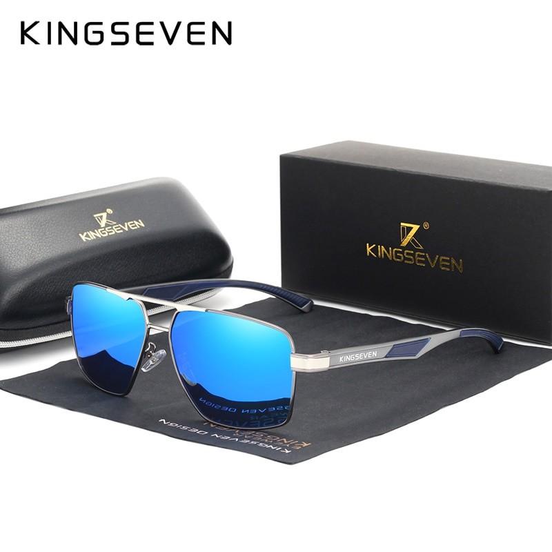 Kingseven Men Square Aluminum Frame Sunglasses