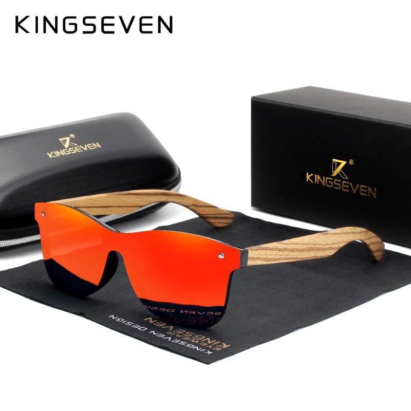 Kingseven Unisex Polarized Wooden Frame Sunglasses
